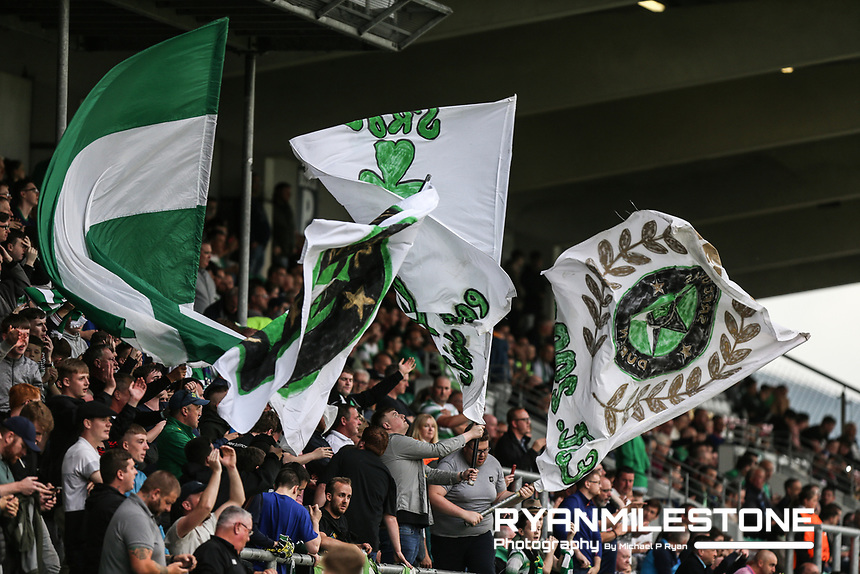 Shamrock Rovers fans during the UEFA Europa League First Qualifying Round First Leg between Shamrock Rovers and AIK on Thursday 12th July 2018 at Tallaght Stadium, Dublin. Photo By Michael P Ryan