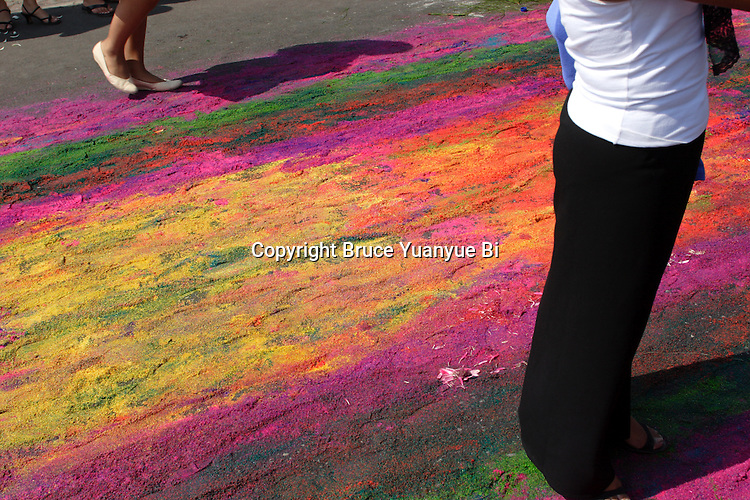 Dyed sawdust carpet after procession passed. Antigua. Guatemala