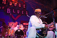 "James ""Blood"" Ulmer performs at the 8th annual Ponderosa Stomp, held at the House of Blues in New Orleans on April 28, 2009.<br /> <br /> James ""Blood"" Ulmer is a noted American blues and jazz guitar player and singer with strong roots in the jazz world where he played with Art Blakey's Jazz Messengers and (most notably and extensively) with Ornette Coleman in the 1970s.  With this impressive jazz base, Ulmer proceeded to head several of his own groups in the 1980s and 90s creating a very unique sound.  He has recently recorded several blues albums to great acclaim.    <br /> <br /> The Ponderosa Stomp is an annual music festival held in New Orleans since 2002 that celebrates the uncelebrated names in American musical history.  The festival spotlights musicians who have contributed to the American roots musical canon in various genres, from rockabilly to soul to rock and roll to jazz to experimental.  For two nights of the year these mostly forgotten names perform to an audience of aficionados whose memory has not faded and turn back the clock with blistering performances of the hits that did or (in the case of the regional musicians that plugged away unknown to the world at large, as well as those whose songs were recorded to acclaim by other musicians) did not make them famous.  <br /> <br /> In addition to the two nights of performances the Ponderosa Stomp Foundation (the non-profit founded by the eccentric Dr. Ira Padnos and his coterie of like minded music fanatics the Mystic Knights of the Mau Mau) also produces two days of the Music History Conference, where many of the performers, as well as other music industry names, share stories of their lives in the business.  The Conferences take place in the Louisiana State Museum at the Cabildo in Jackson Square."