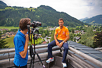 Austria, Kitzbuhel, Juli 14, 2015, Tennis, Davis Cup, Jean-Julien Rojer (NED) being interview by Jan-Willem de Lange<br /> Photo: Tennisimages/Henk Koster