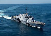 130222-N-DR144-174 PACIFIC OCEAN (February 22, 2013) The littoral combat ship USS Freedom (LCS 1) is underway conducting sea trials off the coast of Southern California. Freedom, the lead ship of the Freedom variant of LCS, is expected to deploy to Southeast Asia this spring. (U.S. Navy photo by Mass Communication Specialist 1st Class James R. Evans/Released)