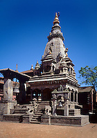 The RAMESHWAR TEMPLE is dedicated to the Hindu God SHIVA in BHAKTAPUR'S DURBAR SQUARE