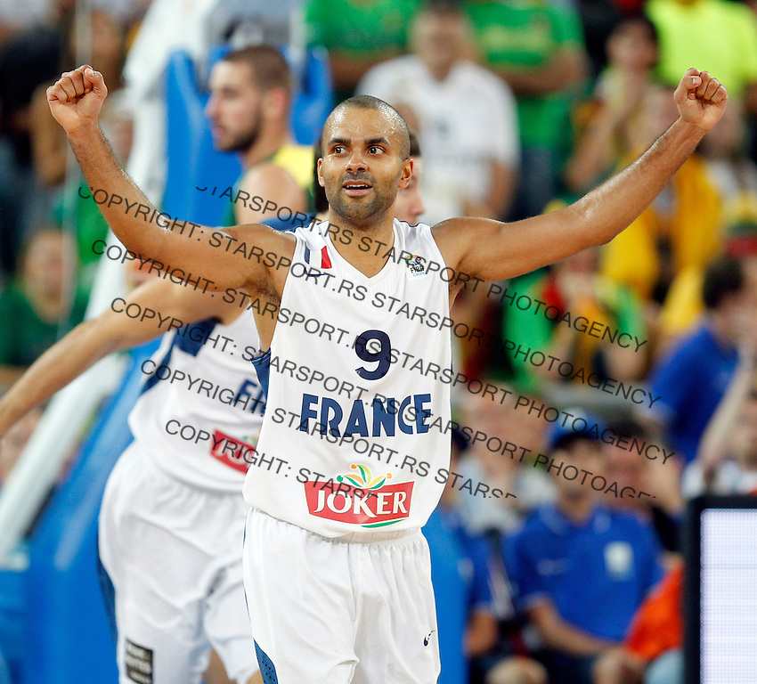 "France`s Tony Parker celebrate during European basketball championship ""Eurobasket 2013""  final game between France and Lithuania in Stozice Arena in Ljubljana, Slovenia, on September 22. 2013. (credit: Pedja Milosavljevic  / thepedja@gmail.com / +381641260959)"