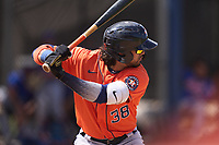 Houston Astros Carlos Machado (38) bats during a Minor League Spring Training game against the New York Mets on April 27, 2021 at FITTEAM Ballpark of the Palm Beaches in Palm Beach, Fla.  (Mike Janes/Four Seam Images)