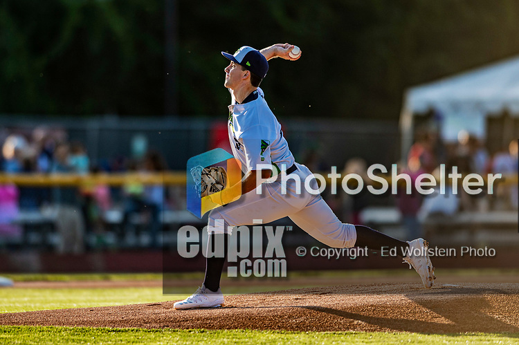 24 August 2019: Vermont Lake Monsters pitcher Seth Shuman on the mound against the Lowell Spinners at Centennial Field in Burlington, Vermont. The Lake Monsters fell to the Spinners 3-2 in NY Penn League action. Mandatory Credit: Ed Wolfstein Photo *** RAW (NEF) Image File Available ***