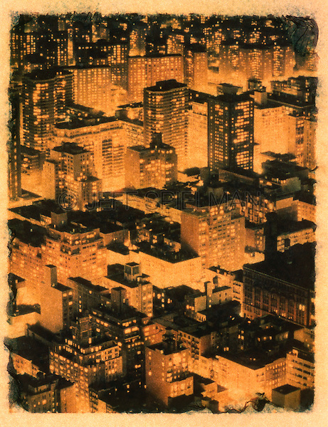 Aerial View of New York City at Night - Polaroid Transfer.New York City, New York State, USA<br /> <br /> AVAILABLE FROM JEFF AS A FINE ART PRINT<br /> <br /> ANOTHER VERSION OF THIS IMAGE (not a polaroid transfer) IS AVAILABLE FOR COMMERCIAL AND EDITORIAL LICENSING EXCLUSIVELY FROM GETTY IMAGES.  Please search for image # 487987 on www.gettyimages.com
