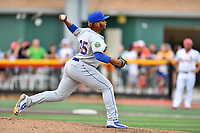Kingsport Mets pitcher Christofer Dominguez (35) delivers a pitch during a game against the Johnson City Cardinals at TVA Credit Union Ballpark on June 28, 2019 in Johnson City, Tennessee. The Cardinals defeated the Mets 7-4. (Tony Farlow/Four Seam Images)