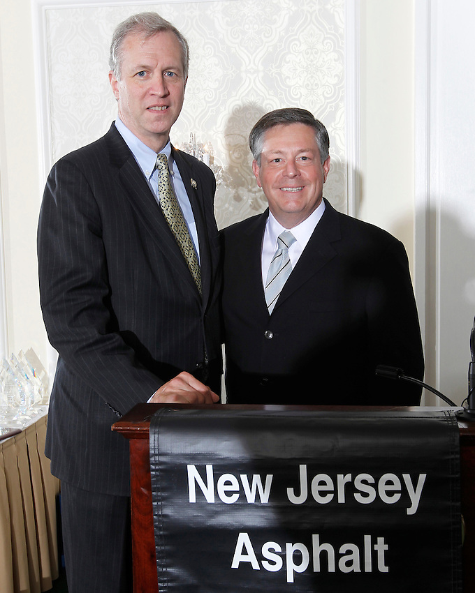 New Jersey Assembly Deputy Speaker John Wisniewski (D-Middlesex) and New Jersey Asphalt Pavement Association President John W. Davies at the 2013 NJAPA Annual Awards Program at the Molly Pitcher in Red Bank on May 15, 2014.  photo by Andrew Mills