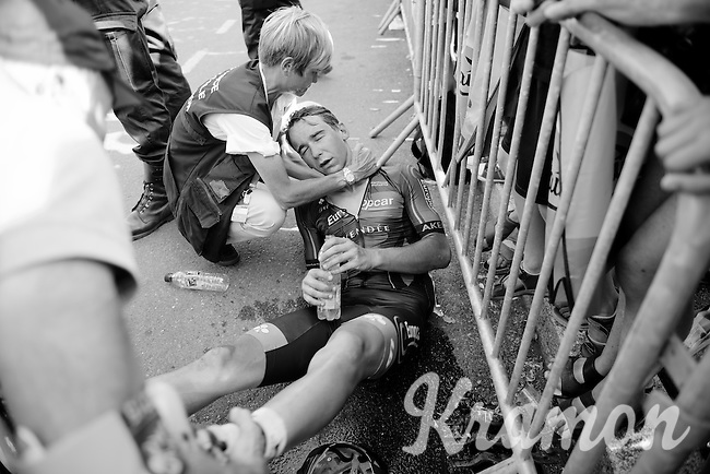 Bryan Coquard (FRA/Europcar) passed out for a little while after finishing and needed assistance. Racing in the 36°C heat all day taking it's toll...<br /> <br /> stage 13: Muret - Rodez<br /> 2015 Tour de France