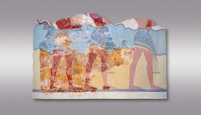 The Minoan 'Procession Fresco', wall art from the South Prpylaeum, Knossos Palace, 1500-1400 BC . Heraklion Archaeological Museum.  Grey Background. <br /> <br /> This latrge Minoan fresco of many figure in procession would have decorated the corridor between the West Porch and the South Propylaeum of Knossos Palace. Both sides of the corridor were painted with hundreds of male and femal;e figures carrying precious utensils and vessels, probably depicting gift bearers to the ruler of the Palace. The composition is much like those found in the Palaces and tombs of Egypt and the near east at the time. Neopalatial final period.