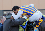 September 22, 2012. My Miss Aurelia, ridden by Corey Nakatani and trained by Steve Asmussen, wins the 43rd running of the Grade 1 Cotillion Stakes at Parx Racing in Bensalem, Pennsylvania. Corey Nakatani and Steve Asmussen congratulate one another in the winner's circle. (Joan Fairman Kanes/Eclipse Sportswire)
