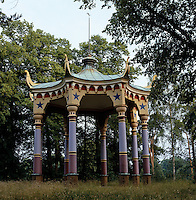The open octagonal Chinese Pavilion was designed by Jean Louis Desprez and would originally have had Chinese statues between the columns and wind-chimes hanging from the dragons' heads on the roof