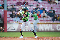 Eugene Emeralds center fielder Fernando Kelli (5) at bat during a Northwest League game against the Salem-Keizer Volcanoes at Volcanoes Stadium on August 31, 2018 in Keizer, Oregon. The Eugene Emeralds defeated the Salem-Keizer Volcanoes by a score of 7-3. (Zachary Lucy/Four Seam Images)