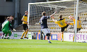 PAUL WATSON AND KEAGHAN JACOBS FAIL TO STOP KEEPER ANDREW NEIL'S FUMBLE FROM CROSSING THE LINE FOR DUNDEE'S SECOND