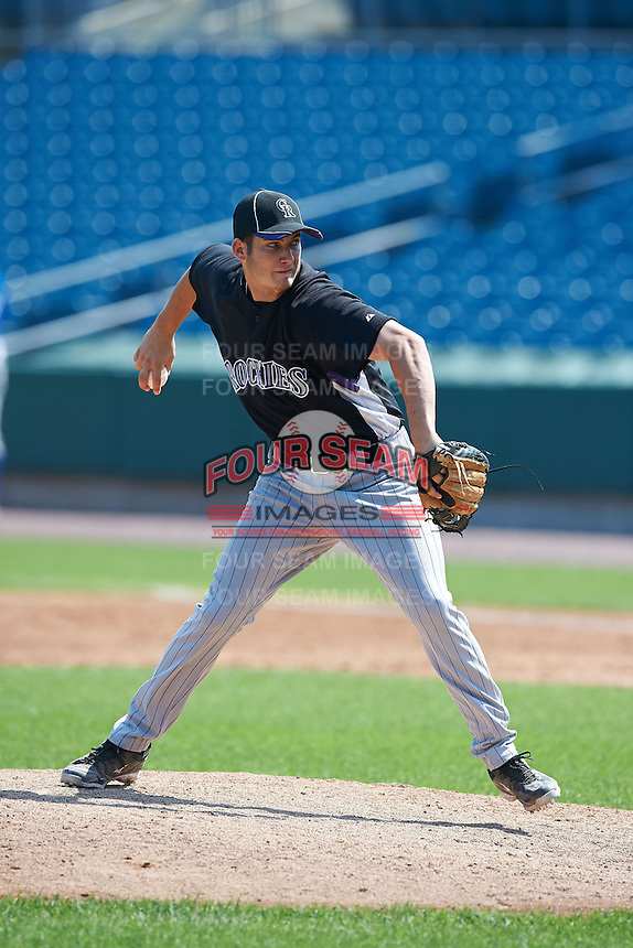 Tyler Danish #7 of Durant High School in Valrico, Florida playing for the Colorado Rockies scout team during the East Coast Pro Showcase at Alliance Bank Stadium on August 4, 2012 in Syracuse, New York.  (Mike Janes/Four Seam Images)