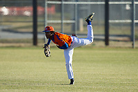 Glenn Bobcats center fielder Kier Meredith (2) makes a throw to home plate during fielding practice prior to the game against the Mallard Creek Mavericks at Dale Ijames Stadium on March 22, 2017 in Kernersville, North Carolina.  The Bobcats defeated the Mavericks 12-2 in 5 innings.  (Brian Westerholt/Four Seam Images)