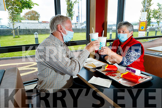 Pat Flaherty and Mary O'Halloran in McDonalds restaurant, Tralee which reopened for diners on Wednesday