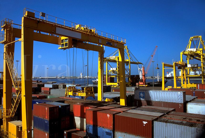 Loading containers in the Freeport at Dubai United Arab Emirates