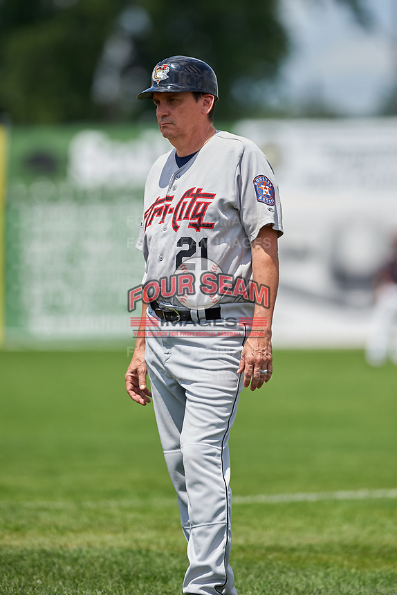 Tri-City ValleyCats coach Sig Mejdal (21) during a game against the Batavia Muckdogs on July 16, 2017 at Dwyer Stadium in Batavia, New York.  Tri-City defeated Batavia 13-8.  (Mike Janes/Four Seam Images)