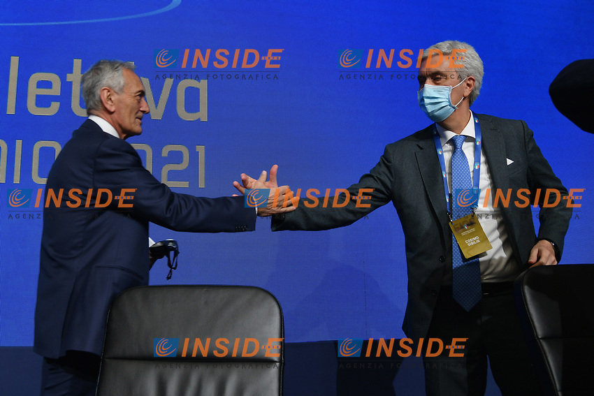 ROME, ITALY - FEBRUARY 22: (L-R) Gabriele Gravina shakes the hands with the Vice President Cosimo Sibilia after being re-elected as President of Italian Football Federation (FIGC) after the FIGC Elective Assembly at Cavalieri Waldorf Astoria Hotel on February 21, 2021 in Rome, Italy. <br /> Photo Marco Rosi / FIGC / Insidefoto