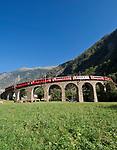 Schweiz, Graubuenden, Brusio im Puschlavtal (Val Poschiavo), der Bernina-Express faehrt hier zwecks Hoehengewinnung ueber das bekannte Kreisviadukt   Switzerland, Graubuenden, Brusio at Val Poschiavo with Bernina Express at the spiral viaduct