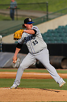 Biloxi Shuckers starting pitcher Trey Supak (35) delivers a pitch during a Southern League game against the Jackson Generals on June 14, 2019 at The Ballpark at Jackson in Jackson, Tennessee. Jackson defeated Biloxi 4-3. (Brad Krause/Four Seam Images)