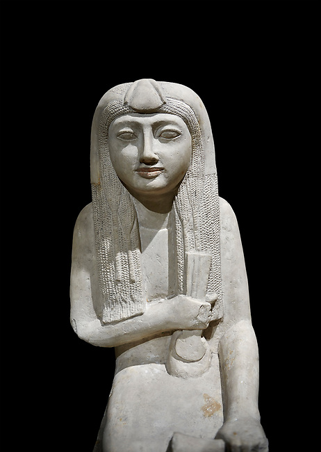 """Ancient Egyptian statue of Hel, limestone, New Kingdom, late 18th Dynasty, (1320-1280 BC), Saqqara. Egyptian Museum, Turin. black background.<br /> <br /> The women is seated on a cushioned stool. On her head is a lotus flower. In her left hand she holds a cloth in her right a counterweight for a meant necklace, a ritual instrument used in the cult of the goddess Hathor. the statue probably stood in a tomb in Saqqara necropolis of Memphis, where the Egyptian eletes of the time had splendid tombs with statues of s similar style. The inscription evokes the deceased """"everything that comes forth in the presence of the gods of Memphis for Osiris, the lady of Hel..."""""""
