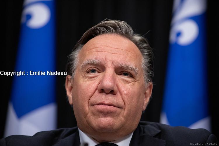 Point de presse <br /> du premier ministre du Québec, M. François Legault,<br /> avec le ministre de la Santé et des Services sociaux, M. Christian Dubé, et le directeur national de la santé publique, M. Horacio Arruda<br /> le 22 Octobre 2020<br /> <br /> PHOTO :  Emilie Nadeau