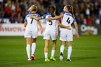 Commerce City, CO - Friday September 15, 2017: Julie Ertz scores and celebrates with her teammates during an International friendly match between the women's National teams of the United States (USA) and New Zealand (NZL) at Dick's Sporting Goods Park.