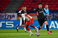 16th February 2021, Puskas Arena, Budapest, Hungary;  Champions League Round of 16 first leg in Budapest, RB Leipzig versus Liverpool;  Amadou Haidara RB Leipzig grapples with Curtis Jones FC Liverpool