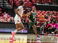 COLLEGE PARK, MD - FEBRUARY 03: Kaila Charles #5 of Maryland paces Nia Clouden #24 of Michigan State during a game between Michigan State and Maryland at Xfinity Center on February 03, 2020 in College Park, Maryland.