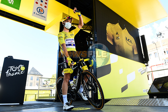 Yellow Jersey Julian Alaphilippe (FRA) Deceuninck-Quick Step at sign on before the start of Stage 5 of Tour de France 2020, running 183km from Gap to Privas, France. 2nd September 2020.<br /> Picture: ASO/Alex Broadway | Cyclefile<br /> All photos usage must carry mandatory copyright credit (© Cyclefile | ASO/Alex Broadway)