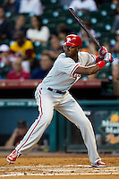 Philadelphia Phillies outfielder Domonic Brown #9 at bat during the Major League baseball game against the Houston Astros on September 16th, 2012 at Minute Maid Park in Houston, Texas. The Astros defeated the Phillies 7-6. (Andrew Woolley/Four Seam Images).