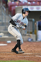 Wisconsin Timber Rattlers shortstop Trevor Morrison (13) swings during a game against the Cedar Rapids Kernels at Veterans Memorial Stadium on April 13, 2017 in Cedar Rapids, Iowa.  The Kernels won 2-1.  (Dennis Hubbard/Four Seam Images)