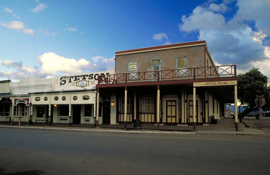 """Wild west - """"""""The Town Too Tough To Die."""""""" Historic buildings on Allen Street in Tombstone, Arizona. Allen Street was the site of the infamous 1881 OK Corral gunfight between the Earps, Doc Holliday, and the Clantons. street scene, architecture, hist toric"""