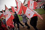 Middlesbrough 1 Preston North End 1, 22/01/2011. Riverside Stadium, Championship. Young children parading with banners around the pitch at Middlesbrough FC's Riverside Stadium on the day the club played host to Preston North End in an Npower Championship fixture. The match ended in a one-all draw watched by a crowd of 16,157. Middlesbrough relocated from their former home at Ayresome Park in 1995. Photo by Colin McPherson.