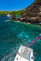 Tourists on a catamaran cruise marvel at the clear waters of Kealakekua Bay, Big Island of Hawai'i. Snorkelers enjoy the bay in the distance.