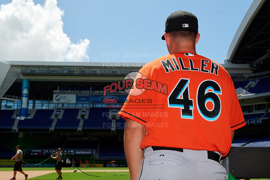 Miami Marlins Andrew Miller (46) in the dugout before a Florida Instructional League game against the Washington Nationals on September 26, 2018 at the Marlins Park in Miami, Florida.  (Mike Janes/Four Seam Images)