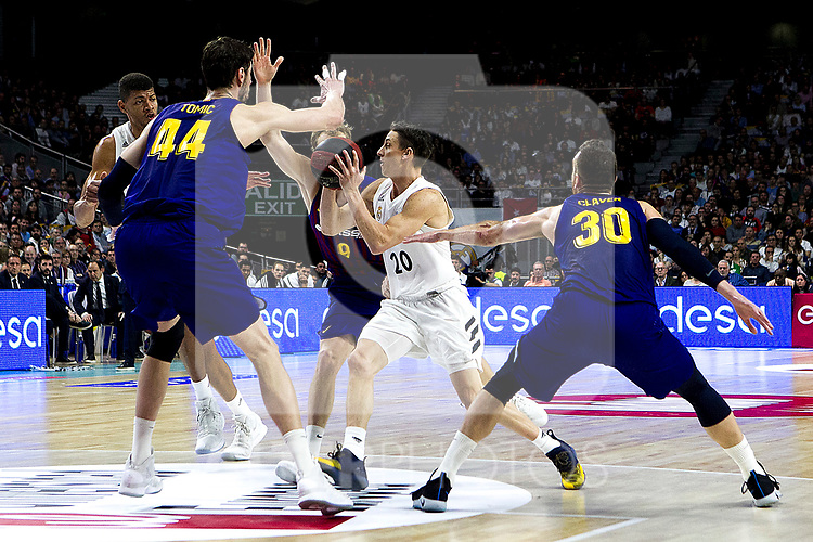 (L-R) Barcelona's Ante Tomic, Barcelona's Jaka Blazic, Real Madrid's Jaycee Carroll and Barcelona's Victor Claver during Liga Endesa match between Real Madrid and FC Barcelona Lassa at Wizink Center in Madrid, Spain. March 24, 2019.  (ALTERPHOTOS/Alconada)