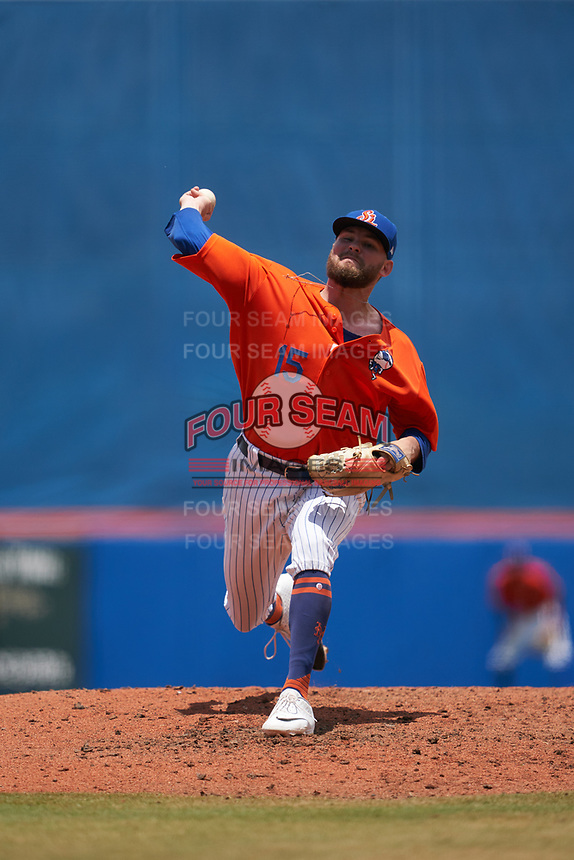 St. Lucie Mets pitcher Thomas McIlraith (15) during a Florida State League game against the Daytona Tortugas on August 11, 2019 at First Data Field in St. Lucie, Florida.  Daytona defeated St. Lucie 7-4.  (Mike Janes/Four Seam Images)