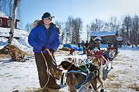 Rachel Scdoris at the Grayling checkpoint on a sunny afternoon during Iditarod 2009