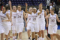 29 March 2008: Jillian Harmon, Kayla Pedersen, Ashley Cimino, Hannah Donaghe, Rosalyn Gold-Onwude, Jayne Appel, Melanie Murphy and JJ Hones during Stanford's 72-53 win over Pitt in the sweet sixteen game of the NCAA Division 1 Women's Basketball Championship in Spokane, WA.