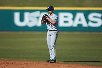 Sam Flamini (14) of the Xavier Musketeers on defense against the Penn State Nittany Lions at Coleman Field at the USA Baseball National Training Center on February 25, 2017 in Cary, North Carolina. The Musketeers defeated the Nittany Lions 10-4 in game one of a double header. (Brian Westerholt/Four Seam Images)