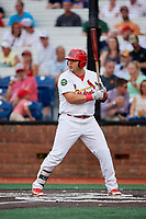 Johnson City Cardinals designated hitter Carlos Soto (47) at bat during a game against the Danville Braves on July 28, 2018 at TVA Credit Union Ballpark in Johnson City, Tennessee.  Danville defeated Johnson City 7-4.  (Mike Janes/Four Seam Images)
