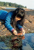 ON03-005z  Ocean - girl exploring tidepool on rocky beach - Acadia National Park, Maine