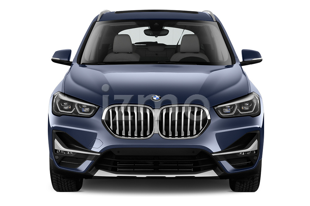 Car photography straight front view of a 2020 BMW X1 X-Line 5 Door SUV Front View