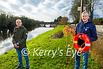 Christy Halpin (front right) who found the vandalised life buoys stands with Cllr: Tom Barry at Feale River in Listowel.