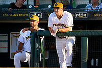 Bradenton Marauders manager Jonathan Johnston (left) and coach Jim Horner (right) during Game Two of the Low-A Southeast Championship Series against the Tampa Tarpons on September 22, 2021 at LECOM Park in Bradenton, Florida.  (Mike Janes/Four Seam Images)