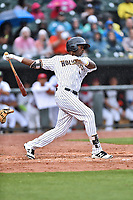 Northern Division left fielder Estevan Florial (8) of the Charleston RiverDogs swings at a pitch during the South Atlantic League All Star Game at Spirit Communications Park on June 20, 2017 in Columbia, South Carolina. The game ended in a tie 3-3 after seven innings. (Tony Farlow/Four Seam Images)