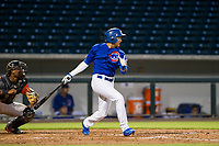 AZL Cubs second baseman Fidel Mejia (76) at bat against the AZL Giants on July 17, 2017 at Sloan Park in Mesa, Arizona. AZL Giants defeated the AZL Cubs 12-7. (Zachary Lucy/Four Seam Images)